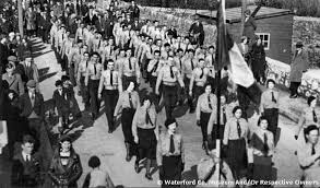 Fine Gael's paramailtary ancestors the Blueshirts on the march in Tramore in 1934