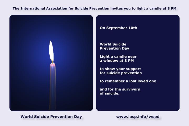 Light a Candle Near a Window at 8pm on World Suicide prevention Day September 10th postcard