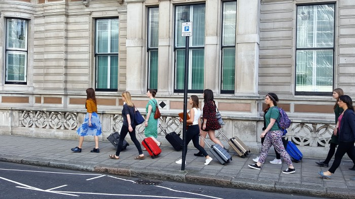77 women with suitcases did a circuit of the square and over to the Irish Embassy